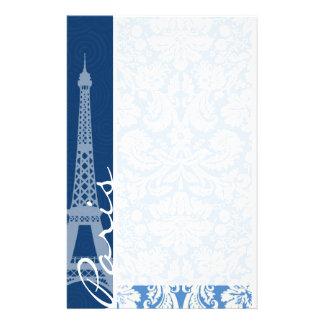 Blue Damask; Paris Stationery