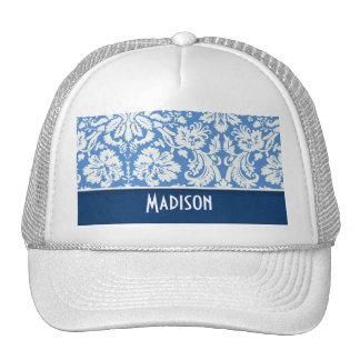 Blue Damask Pattern Trucker Hats