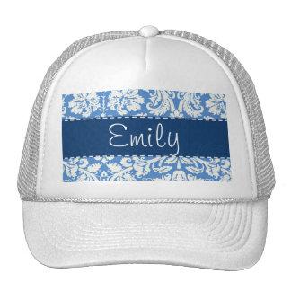 Blue Damask Pattern Mesh Hat