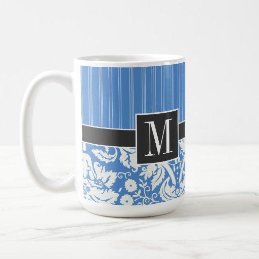 Blue Damask Pattern Coffee Mug
