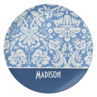 Blue Damask Pattern Plate
