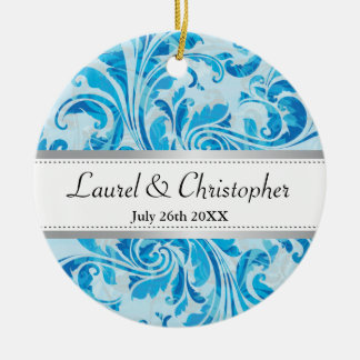 Blue Damask Pattern Save the Date Ornament
