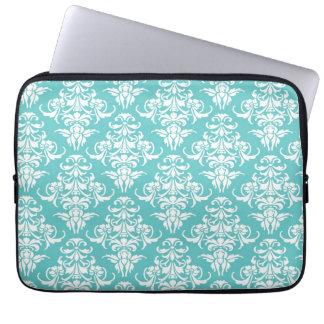 Blue damask pattern vintage girly chic chandelier laptop sleeve