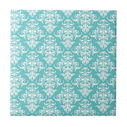 Blue damask pattern vintage girly chic chandelier tile