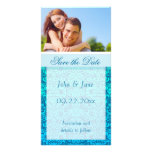 """Blue Damask/photo  """"Save the Date"""" Picture Card"""