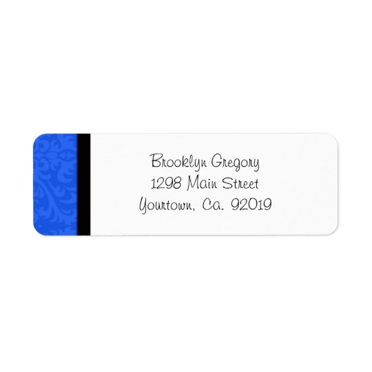Blue Damask Return Address Label