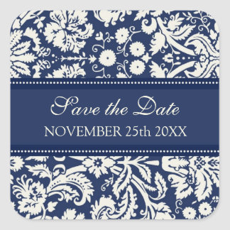 Blue Damask Save the Date Envelope Seal Square Sticker