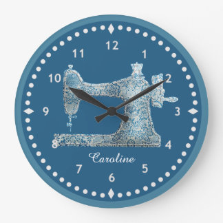 Blue Damask Sewing Machine Clock
