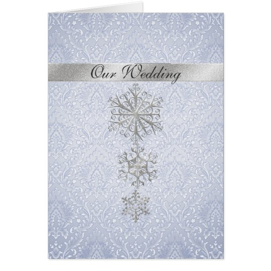 Blue Damask & Snowflakes Winter Wedding Invitation