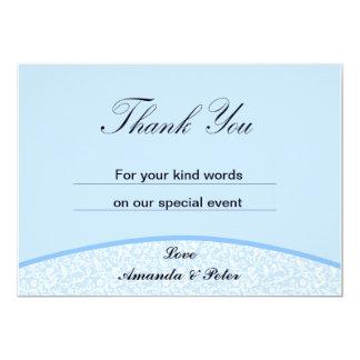 Blue Damask Thank You Card 13 Cm X 18 Cm Invitation Card