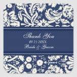 Blue Damask Thank You Wedding Favour Tags