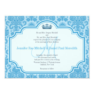 Blue Damask Wedding Invitations Monogram M
