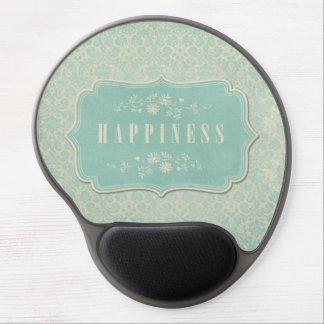 Blue Damasks Happiness Label Soft Gel Mouse Pad