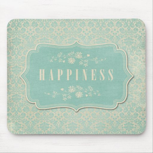 Blue Damasks Happiness Label Soft Mouse Pads
