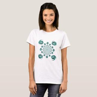 Blue Dance Kaleidoscope Folk Floral Ornament T-Shirt