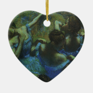 Blue Dancers by Edgar Degas, Vintage Impressionism Ceramic Heart Decoration