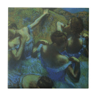 Blue Dancers by Edgar Degas, Vintage Impressionism Small Square Tile