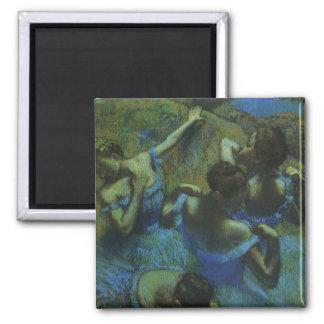 Blue Dancers by Edgar Degas, Vintage Impressionism Square Magnet