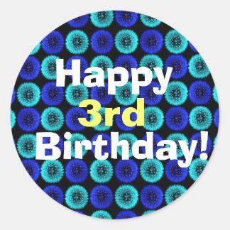 Blue Dandelion Puffs Birthday Custom Sticker