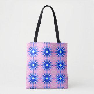 blue dandelion starburst pattern tote bag