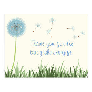 Blue Dandelion Thank You Postcard