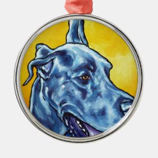 blue Dane Silver-Colored Round Decoration