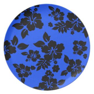 Blue Dark Hawaiian Pattern Plate
