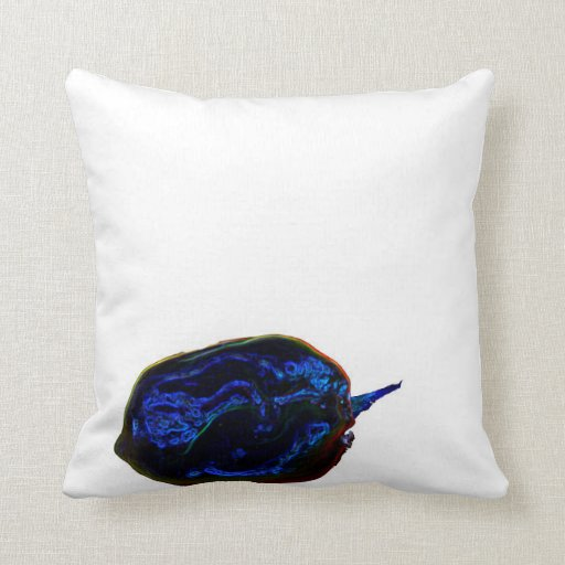 blue dark pepper at bottom food image throw pillows