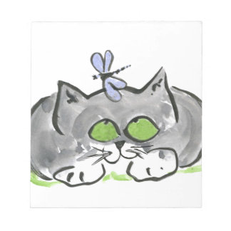 Blue Darning Needle and Gray Kitten Notepad