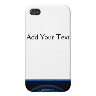 Blue Dashlight on Black Border iPhone 4 Cases