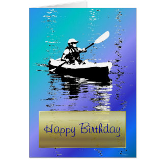 Blue Day Kayak Happy Birthday Card