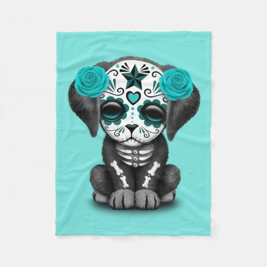 Blue Day of the Dead Puppy Dog Fleece