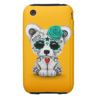 Blue Day of the Dead Sugar Skull Bear Yellow Tough iPhone 3 Case