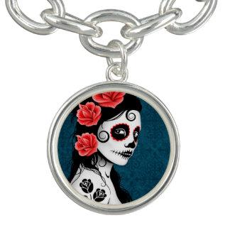 Blue Day of the Dead Sugar Skull Girl