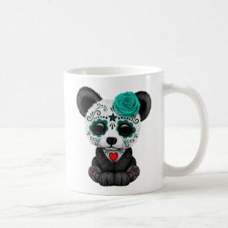 Blue Day of the Dead Sugar Skull Panda Bear Basic White Mug