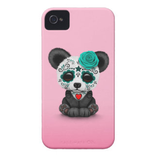 Blue Day of the Dead Sugar Skull Panda on Pink iPhone 4 Covers