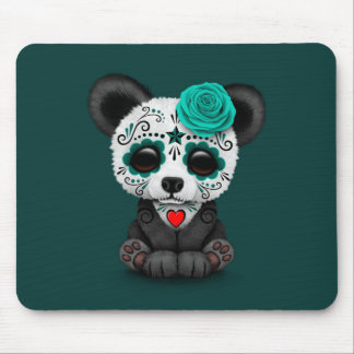Blue Day of the Dead Sugar Skull Panda on Teal Mouse Pad