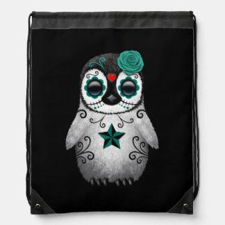 Blue Day of the Dead Sugar Skull Penguin Black Drawstring Bag