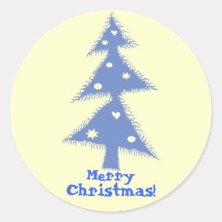 blue decorated christmas tree round sticker