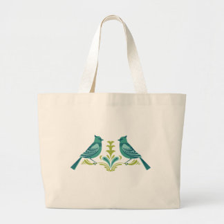 Blue Decorative Birds Tote Bag