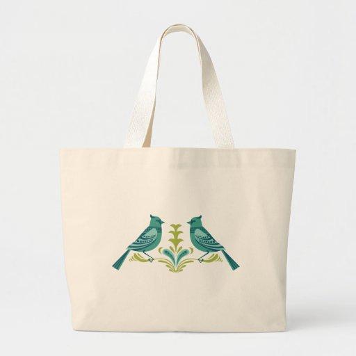 Blue Decorative Birds Tote Bag