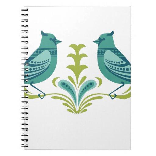 Blue Decorative Birds Notebook