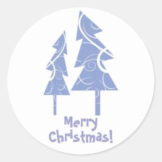 blue decorative Christmas trees Round Sticker