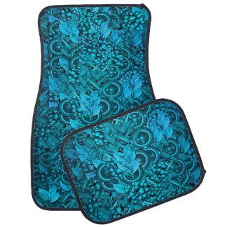 Blue Decorative Element Design Set of 4 Car Mats Floor Mat