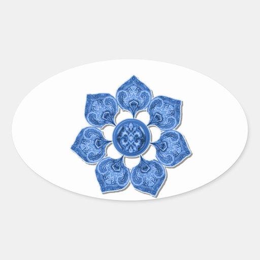 Blue Decorative Fabric Cutout Flower Oval Stickers