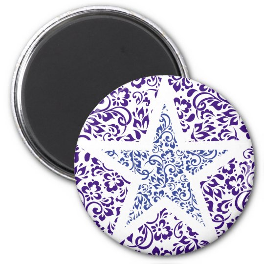 blue decorative floral star 6 cm round magnet
