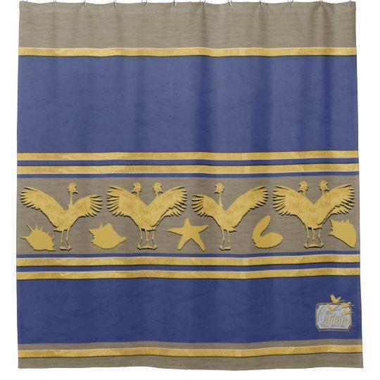 Blue Decorative Gold Shells Cranes Shower Curtain