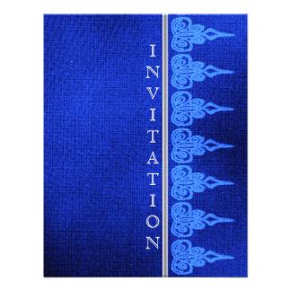 Blue decorative henna lace cocktail invitation