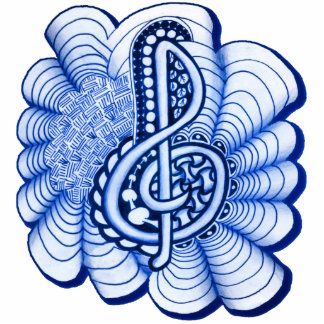 Blue Decorative Treble Clef Doodle Photo Sculpture