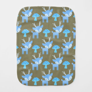Blue Deer Mushroom Polka Dot Burp Cloth